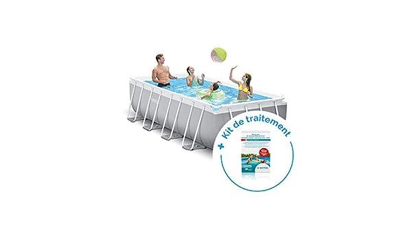 RAVIDAY Pack piscina tubular Intex Prism Frame 4 x 2 x 1 m + ...