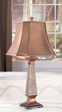 Set of 2 Table Lamps in Bronze and Silver Finish