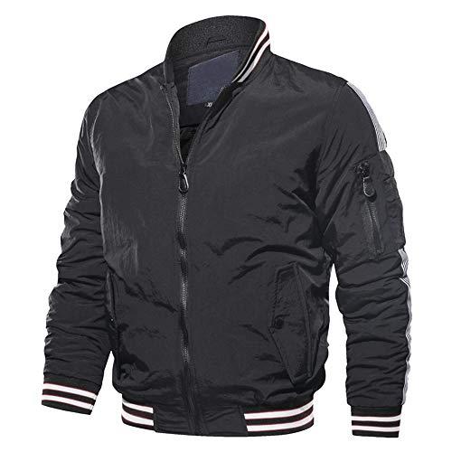 Sunhusing Men Stand Collar Stripe Long Sleeve Side Zip Pocket Flight Jacket Warm Uniform (Nylon Notch Collar Knit Jacket)