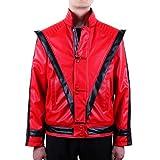 Mjb2c-Michael Jackson Costume Thriller Leather Jacket Kids Child (6-7Y) Red