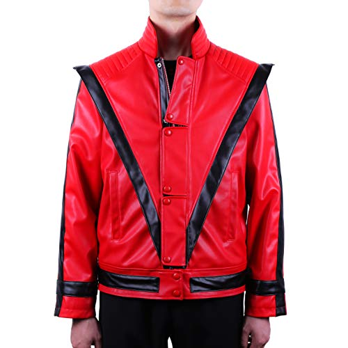 Mjb2c-Michael Jackson Costume Thriller Leather Jacket Child/Adult (Child 10-11Y, Red) ()