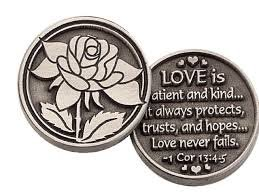 "THREE (3) LOVE is PATIENT -Pewter POCKET Tokens - PAUL Corinthians 13:4-8- 1"" Metal Coin --INSPIRATIONAL Gift - KEEPSAKE - Scripture"