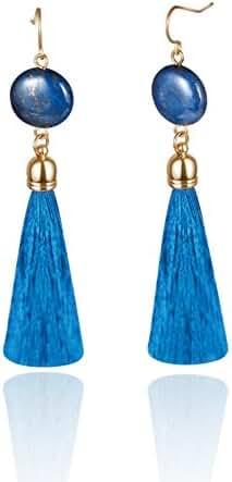 Blue Lapis Lazuli Semi Precious Stone Tassel Drop Earrings for Women