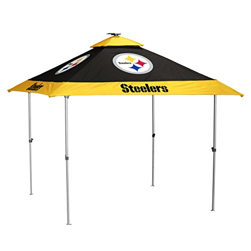Logo Brands NFL Pittsburgh Steelers Pagoda Tent Pagoda Tent, Charcoal, One Size