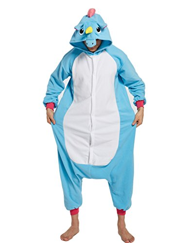 KING FUN Adult Unisex Unicorn Animal Cosplay Onesies Pajama Costume Jumpsuit Blue Extra Large (Gay Couples Costume)