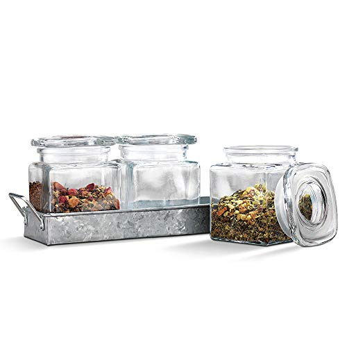 Emenest 3 Clear Airtight Glass Spice & Cookie Jars on Galvanized Tray with Handle - Home and Party Organizer Set, Rustic Vase Decoration