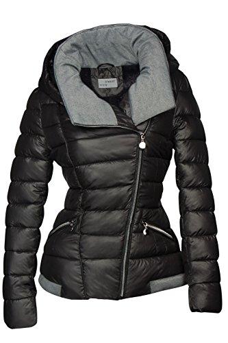 Chaqueta de invierno corta acolchada para mujer, aspecto de plumón, capucha, forrada, chaqueta de esquí negro