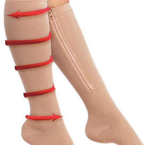 2-Pack Zipper Compression Socks for Men/Women with Open Toe, Knee High 20-30mmHg Compression Support Hose (Beige, ()