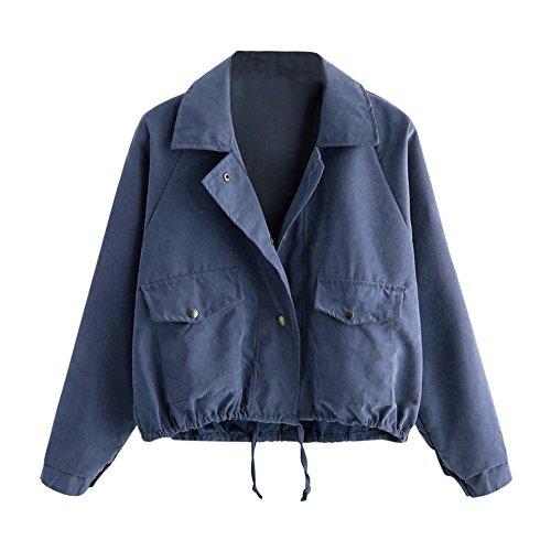 Magiyard Femmes Automne Mode Manteau Court Bouton Veste Veste de Cardigan Bleu
