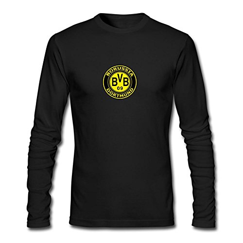 CHENGXINGDA Men's BVB 09 Borussia Dortmund Logo Long Sleeve T-shirt M