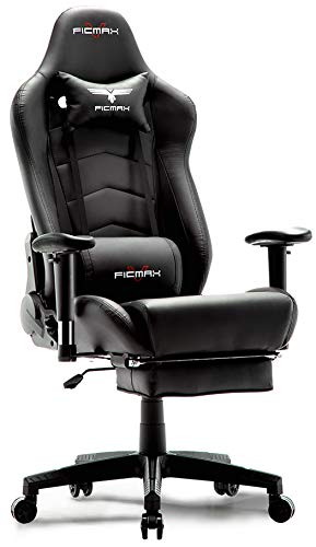(Ficmax Ergonomic Gaming Chair Racing Style Office Chair Recliner Computer Chair PU Leather High-Back E-Sports Chair Height Adjustable Gaming Office Desk Chair with Massage Lumbar Support and)