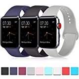 Pack 3 Compatible with Apple Watch Band 38mm 40mm 42mm 44mm, Soft Silicone Band Replacement for Apple iWatch Series 4, Series 3, Series 2, Series 1 (Navy Blue/Black/Gray, 38mm/40mm-M/L)