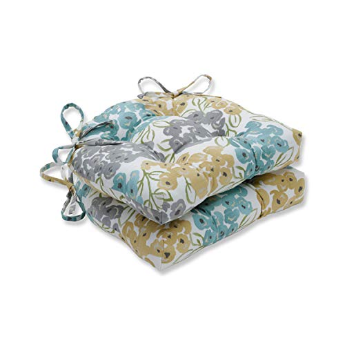 Pillow Perfect Luxury Floral Pool Reversible Chair Pads (Set of 2), 16 x 15.5, Blue