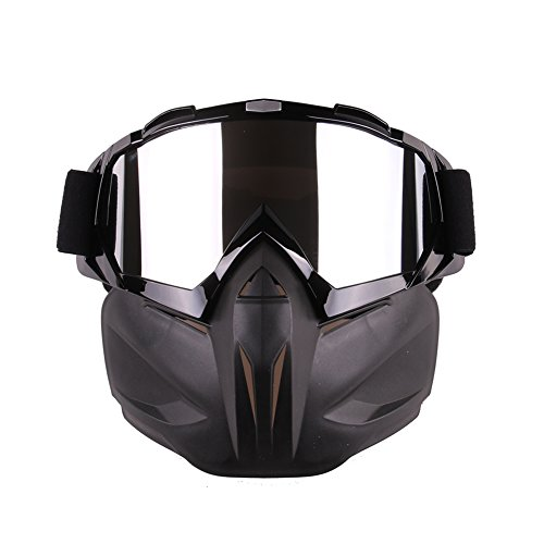 wonderfulwu Motorcycle Ski Goggles Mask, Anti-Fog Windproof Riding Goggles Mask Halley Goggles Off-road Goggles Skiing Goggles Mask (Black)