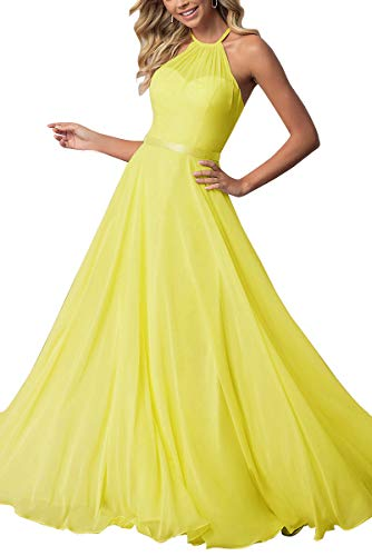 Bridesmaid Dresses Long Halter Chiffon Aline Prom Formal Wedding Party Dress Womens Yellow 8 (Back Prom Gown Open)