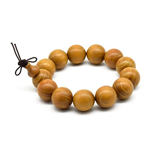 Zen Dear Unisex Natural Golden Sandalwood Mexican Bocote Wood Mala Prayer Bracelet Link Wrist Necklace Chain Beads (18mm 13 - Stores Jewelry Monterey