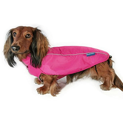 - DJANGO City Slicker Water-Repellent Dog Raincoat and All-Weather Jacket with Reflective Piping (Small, Cerise Pink)