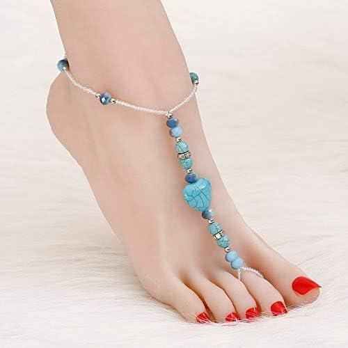 TTO Anklets Vintage Women Bohemian Anklet Bracelet Foot Accessories Blue Stone Ankle Bracelets feet Jewelry Wholesale Anklet for Women 1 PCs