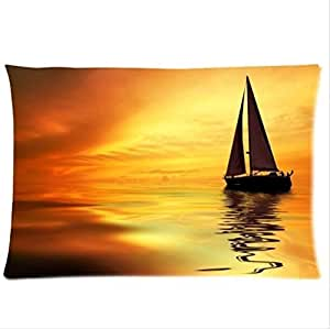 Beautiful Scenery:Sailing Boat In The Sunset,Sailing Boat Pillowcase,Twin Sides Pillowcase Pillow Cover 20x30 inches