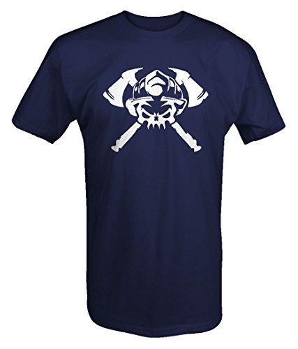 Coal Miner Crossed Axes Helmet Skull Trade Tshirt - Medium (Trade Axe)
