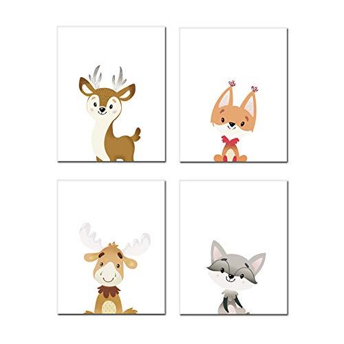 Chsdec Woodland Theme Cute Animals Typography Set of 4 Art Print(8