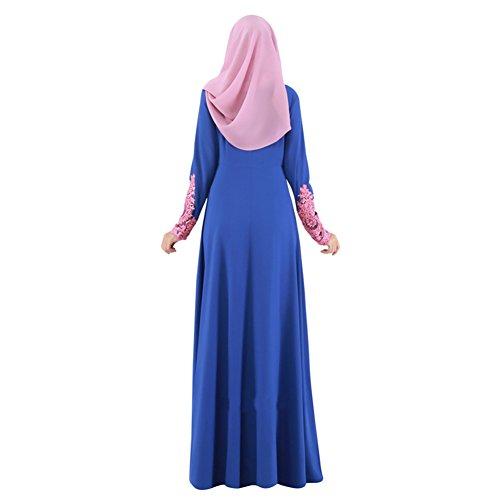 Highdas Vestido largo de la manga de Turquía Mujer larga Abaya Ropa islámica Mujer musulmanes ropa de las señoras de las mujeres Kaftan largo del cordón azul oscuro