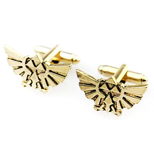 The Legend of Zelda Cufflinks Set - Tri-Force Hylian Shield Cufflinks (Gold) by BlingSoul