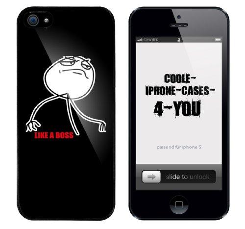 Iphone 5 Schutzhülle mit Like a Boss Aufdruck mit schwarzem Rahmen