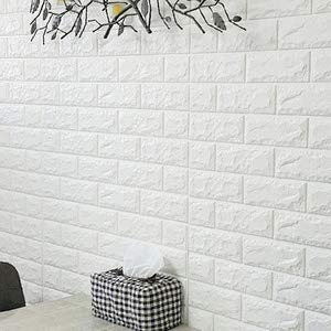 10 Pieces 3D Self-Adhesive Wall Sticker, Brick Design Wall Panels, Waterproof PE Foam White Wallpaper for Living Room, TV Wall and Home Decor by Naturalwall (Image #2)