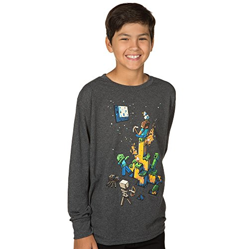 JINX Minecraft Big Boys' Tight Spot Long-Sleeve Premium Cotton T-Shirt (Charcoal Heather, Medium)