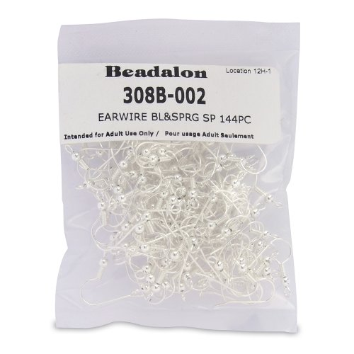 - Beadalon 144-Piece Ball and Spring Ear Wire, Nickel Free Silver Plate
