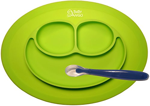 No More Dining Mess – Baby Feeding One-Piece Mini Happy Face Placemat and Plate with First Step Spoon By BaBy ANiGO – 100% Food Grade BPA Free & FDA Approved Silicone – Anti Spill Surface Suction