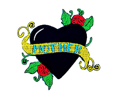 Mother Banner Black Heart Red Rose Vintage Old School Tattoo Cartoon Children Kid Patch Clothes Bag TShirt Jeans Biker Badge Applique Iron on/Sew On Patch