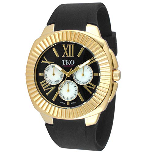 TKO Women's Gold-Tone Multi-Function Watch/w Black Soft Silicone Rubber Adjustable Strap Band