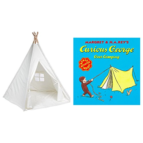 Bundle Includes 2 Items - 6' Giant Teepee Play House of Pine Wood with Carry Case by Trademark Innovations (White) and Curious George Goes Camping ()