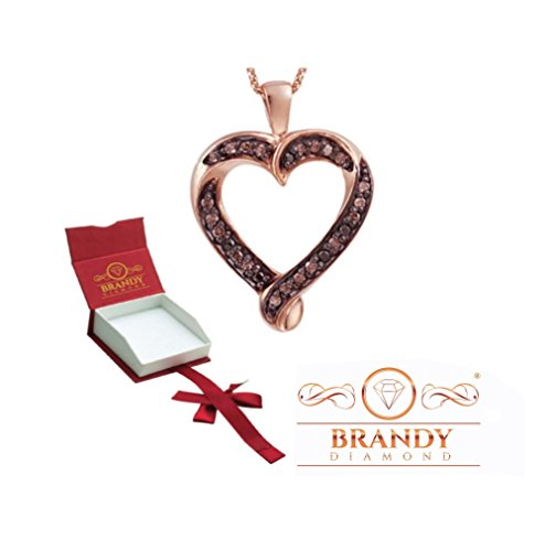 Brandy Diamond Chocolate Brown 18K Rose Gold Silver Loving you Forever Heart Pendant Necklace 1/3 Ctw.