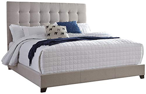 Ashley Furniture Signature Design - Dolante Upholstered Bed - King Size - Complete Bed Set in a Box - Contemporary Style - Tan