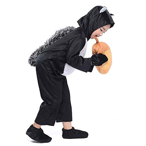 Kid Black Squirrel Costume Child Animal Jumpsuit Cosplay Fancy Dress Halloween Outfit (Squirrel, S) ()