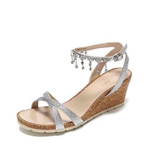 Hebilla De La Palabra Del Verano Y Sandalias/Azúcar Del Flujo Del Rhinestone Y Zapatos De Las Mujeres B
