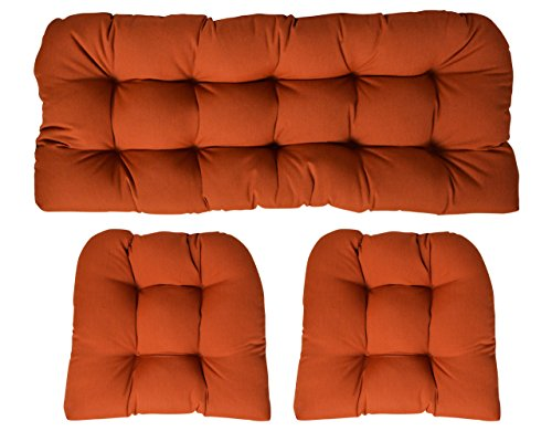RSH Decor Sunbrella Canvas Rust 3 Piece Wicker Cushion Set - Indoor/Outdoor Wicker Loveseat Settee & 2 Matching Chair ()