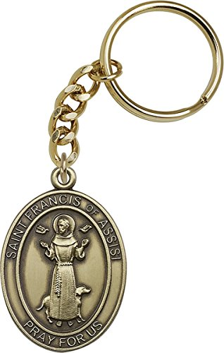 (Gold Toned Catholic Saint Francis of Assisi Medal Key Chain)