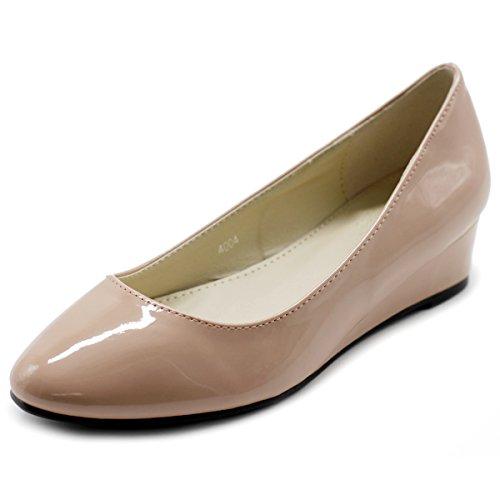 [Ollio Women's Shoe Enamel Patent Ballet Basic Light Comfort Wedge Heel Pump (7.5 B(M) US, Skin Pink)] (Pink Flat Ballet Pump)