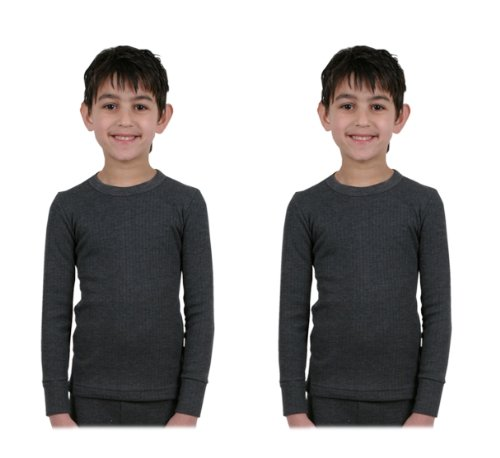2er Pack : Kinder/Jungen Thermo-Unterwäsche - Long Sleeve Westen - Anthrazit