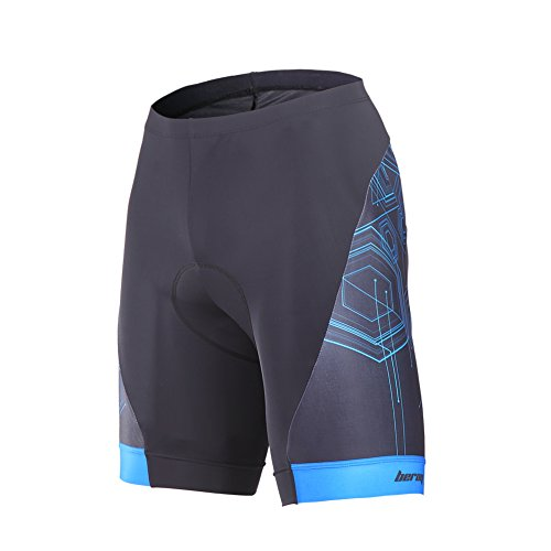 beroy Men's Comfortable Bicycle Cycling Pants, 3D Padded Bike Shorts Blue Medium