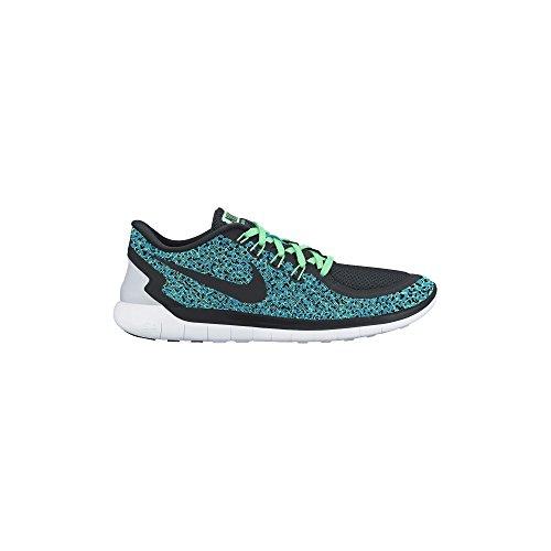 Women's Nike Free 5.0 Print Running Shoe Blue Lagoon/Green Glow/White/Black Size 7.5 M US (Green Nike Running Shoes)