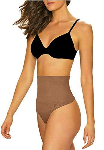 ShaperQueen 103 Thong - Women's Basic High-Waist Thong Panty Underwear (L, Tan (Light))