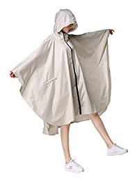 Freesmily Women's Stylish Rain Poncho Waterproof Rain Coat with Hood