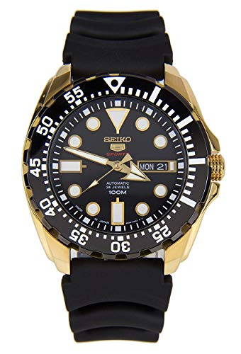 Watch 100m Dive (Seiko 5 Sports SRP608J1 Men's Japan Gold Tone Black Rubber Band 100M Dive Watch)