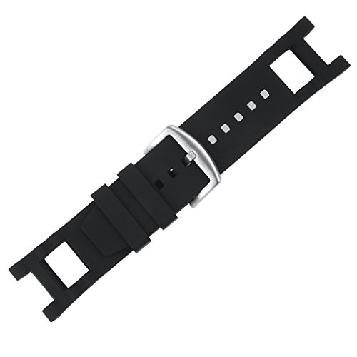 Adebena Black Rubber Silicone Watch Band Strap with Stainless Steel Buckle for invicta Subaqua Noma III by Adebena (Image #3)