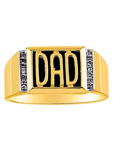 (RYLOS Designer DAD Ring With Diamonds and Black Onyx Set in Yellow Gold Plated Silver .925)